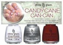 Kit Candy Cane Can-Can - 3 esmaltes + fita prateada